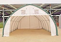 20x30x12 Canvas Fabric Building Shelter w/ Metal Frame, Camp
