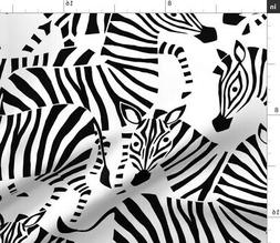 Abstract Zebra Animal Black And White African Fabric Printed