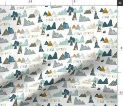 Adventure Mountain Baby Boy Explore Modern Fabric Printed by
