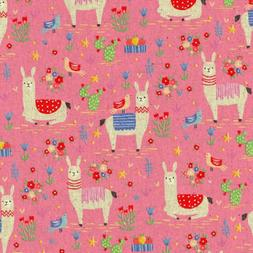 Animal World Llamas Pink - Kokka Japan Cotton/Linen Canvas F