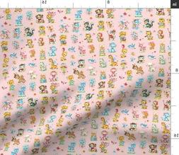 baby animals pink fabric printed by bty
