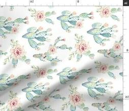 Baby Cactus Nursery Paddle Watercolor Fabric Printed by Spoo