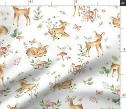 Baby Deer Fawn Forest Woodland Animal Fabric Printed by Spoo