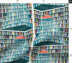 Blue Bookshelves Library Books Decoration Fabric Printed by