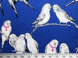 Blue Exotic Bird Cotton Canvas Fabric by the Yard, Cosmo