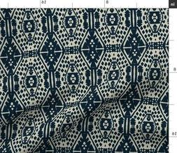 Bohemian Block Print Navy Cream Boho Ethnic Fabric Printed b