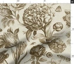 Botanical Floral Sepia Taupe Cream Antique Fabric Printed by