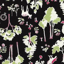 By 1/2 Yard Kokka Canvas Fabric ~ Alice In Wonderland Forest
