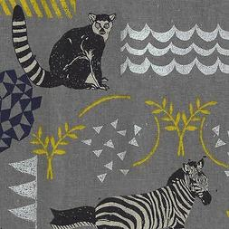 By 1/2 Yard Kokka Echino Canvas Fabric ~ Habitat in Gray ~ Z