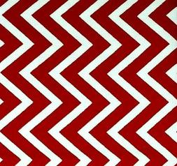 Canvas Upholstery Home Decor Fabric Red Ivory Zig Zag Chevro