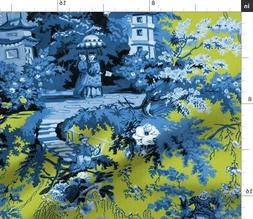 Chinoiserie Toile Asian Chinese Lonely Angel Fabric Printed