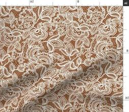 Cinnamon Lace Fabric Printed by Spoonflower BTY