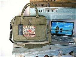 COMPUTER LAPTOP Shoulder Tote Bag RECYCLED Military Tent by