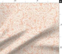 Coral Lace White Pink Fabric Printed by Spoonflower BTY