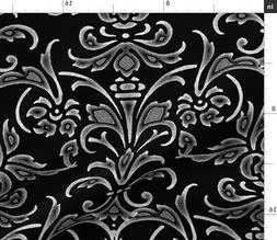 Damask Black And White Modern Chalk Canvas Fabric Printed by