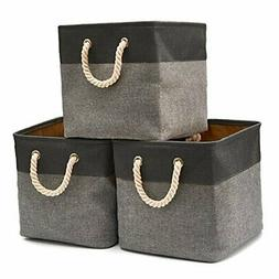 EZOWare 3-Pack Collapsible Storage Bins Basket Foldable Canv