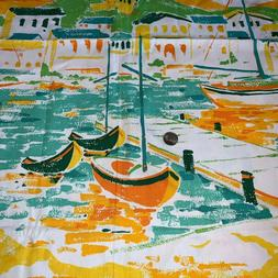 Fabric Waverly Canvas Boats 103 x 47 Town Village Harbor Cot