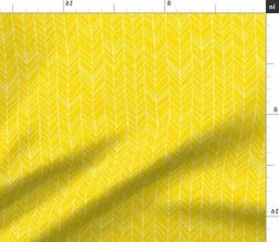 Featherland Yellow Chevron Lemon Feather Fabric Printed by S