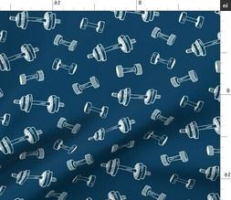 Fitness Sports Indigo Hand Weights Weight Fabric Printed by