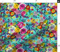Floral Pattern Colorful Painted Flowers Teen Fabric Printed
