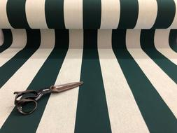SUNBRELLA CANVAS FOREST GREEN & WHITE STRIPES AWNINGS OUTDOO