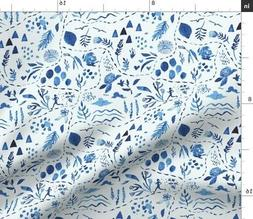 Free Blue Watercolor Botanical Pattern Freedom Fabric Printe