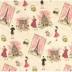 French France Paris Tres Chic canvas cotton Fabric by the ya