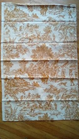 Waverly Gold and Cream Country Life Toile Canvas Duck Fabric