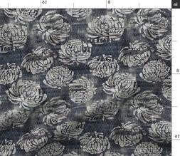 Gray Floral Blooms Watercolor Flower Grunge Fabric Printed b