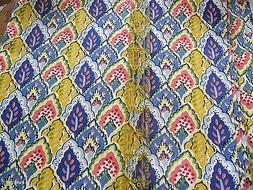 Home Decor fabric Cotton Canvas Yellow feather leaf blue pai