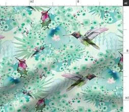 Hummingbird Blue Birds Watercolour Emerald Fabric Printed by