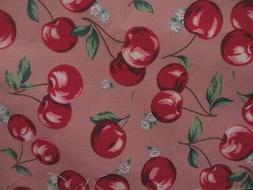 Japanese  Kokka Cotton Linen Canvas Fabric ~ LARGE CHERRIES