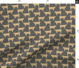 Jersey Cow Farm Animal Charcoal Cattle Animals Fabric Printe