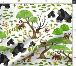Jungle Zoo Green Babies Kids Animals Fabric Printed by Spoon