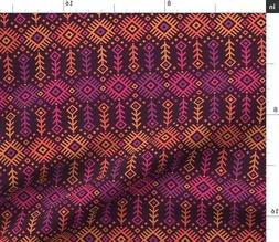 Kilim Hot Pink Orange Sunset Geometric Fabric Printed by Spo