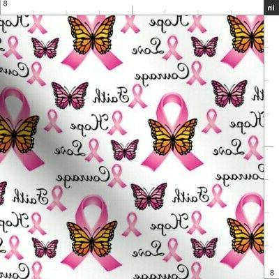 Courage Cancer Awareness Faith Fabric Printed by Spoonflower BTY