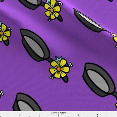Frying Pan Cooking Flowers Springtime Hobby by Spoonflower