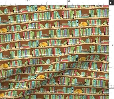 library books shelves marmalade reading fabric printed