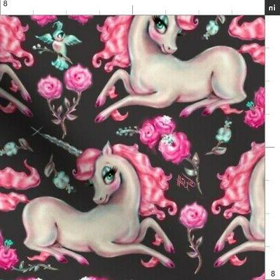 Unicorns Babies Girly by Spoonflower BTY