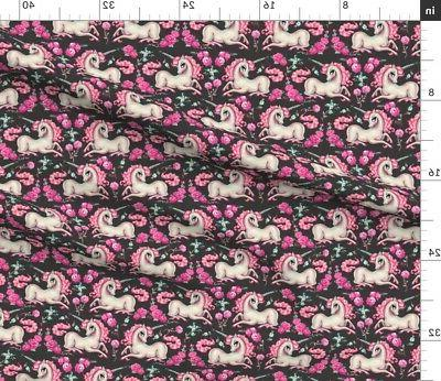 Unicorns Roses Fairytales Babies Fabric Printed by BTY