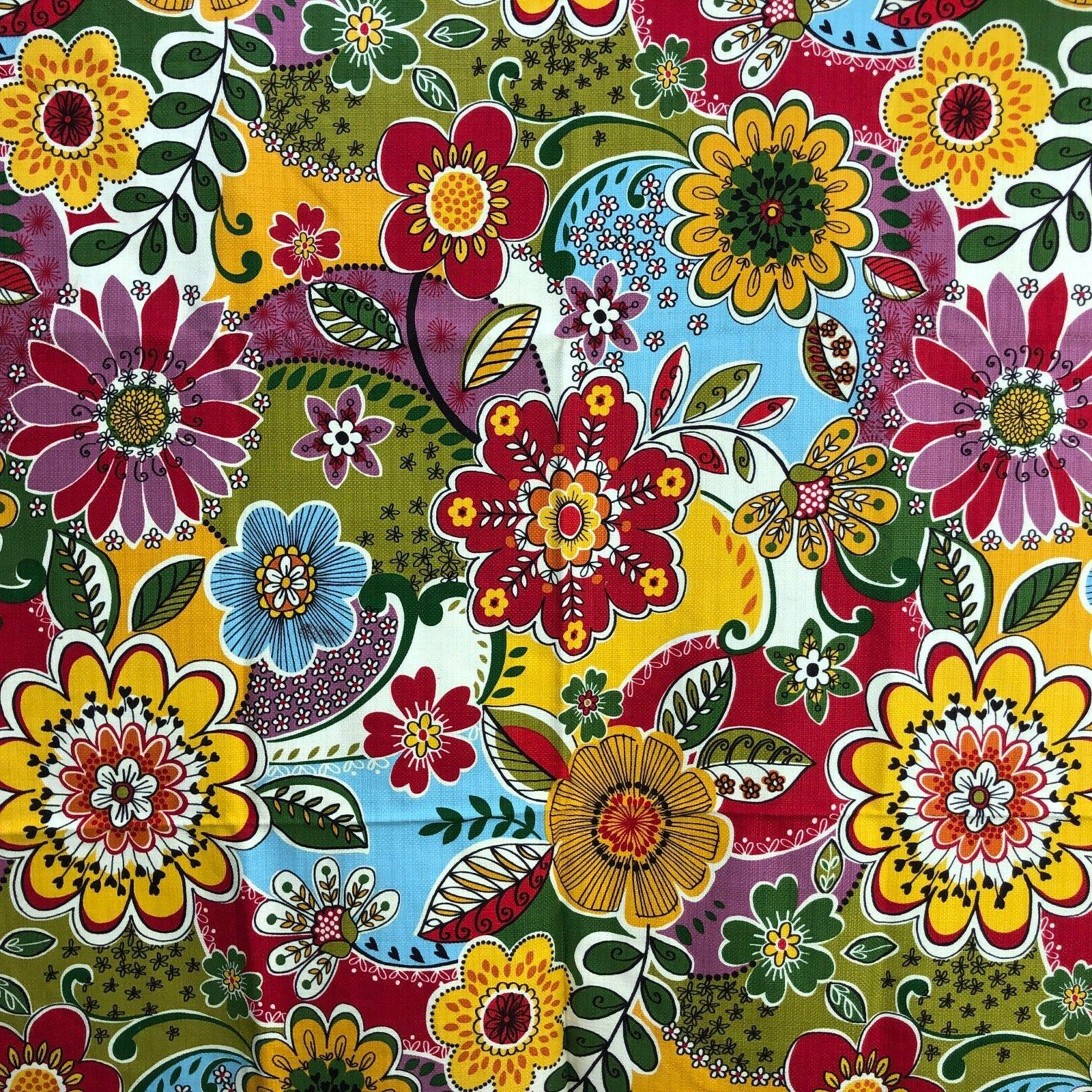 vtg screen print fabric whimsical material canvas