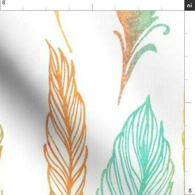 Watercolor Colorful Feathers Feather Printed by Spoonflower