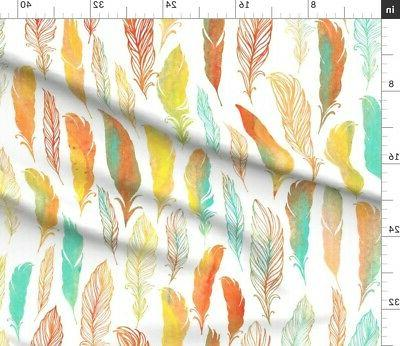 Watercolor Feathers Feather Fabric by Spoonflower BTY