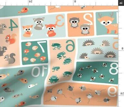 woodland animals babies counting numbers fabric printed