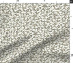 Lace Flowers Pattern White Gray Vintage Fabric Printed by Sp