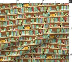 Library Books Shelves Marmalade Reading Fabric Printed by Sp