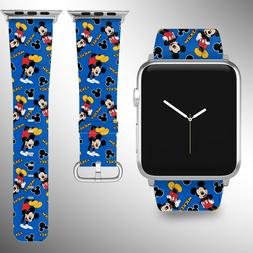 Mickey Mouse Apple Watch Band 38 40 42 44 mm Fabric Leather