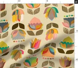 Mid Century Floral Home Kitchen Modern 1950S Fabric Printed