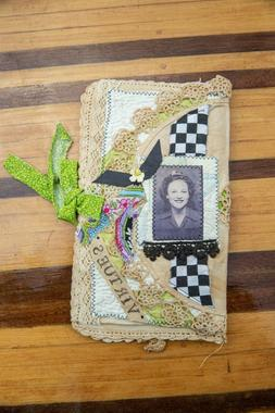 Mixed Media Collage Fabric Flip Book