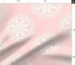Mod Baby Suzani Coral Pink Girl Fabric Printed by Spoonflowe